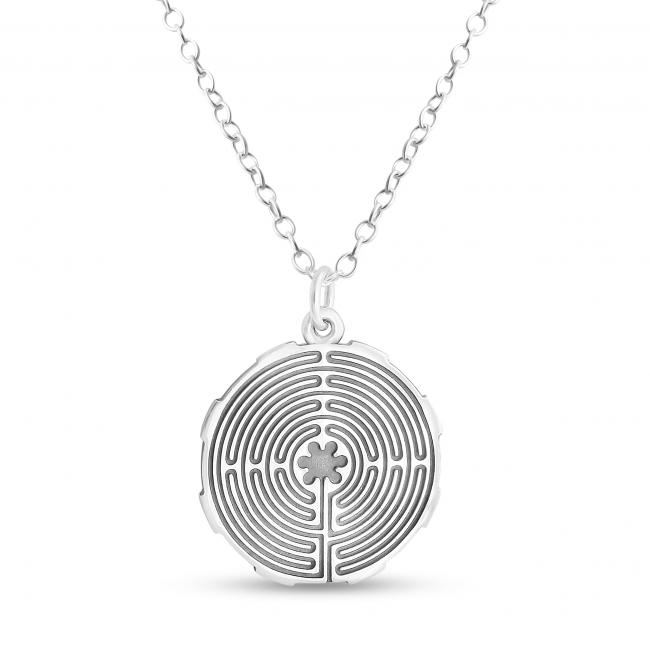 925 sterling silver necklace Mandala Labyrinth Coin Sacred Path Spiritual Jorney