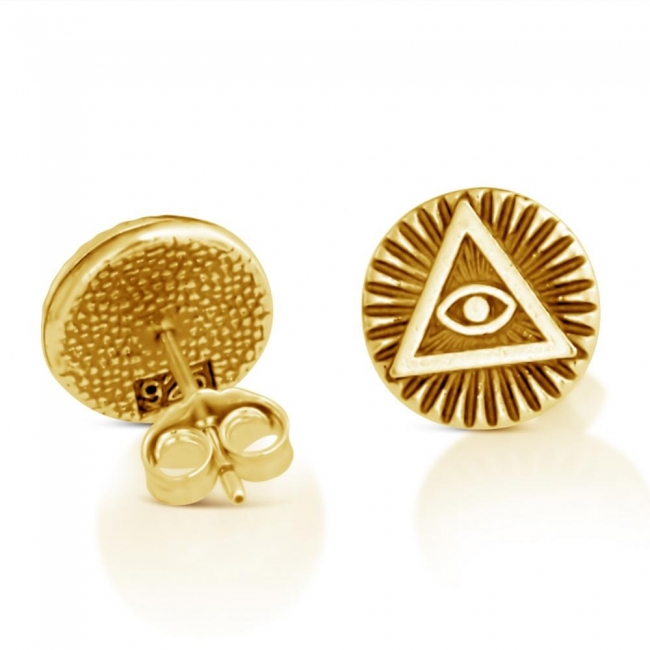 Gold plated earrings Illuminati Circle