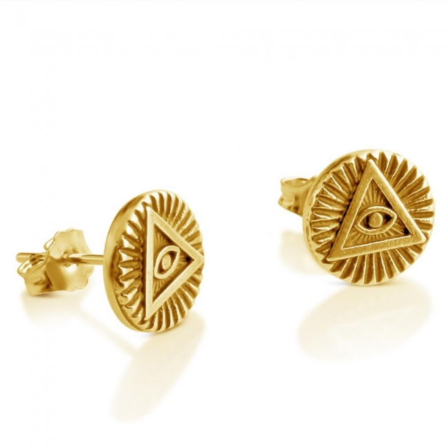 Gold plated earrings <strong>Illuminati</strong> Circle