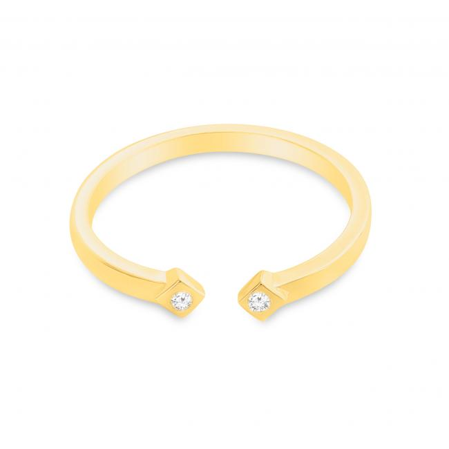 Gold plated ring Dual Square CZ Plain Open Adjustable Ring