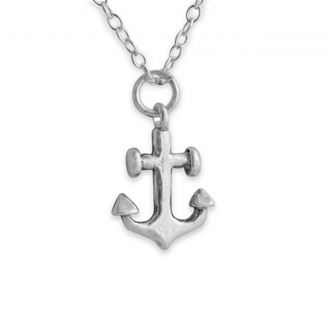 925 sterling silver necklace Anchor Double Sided Nautical