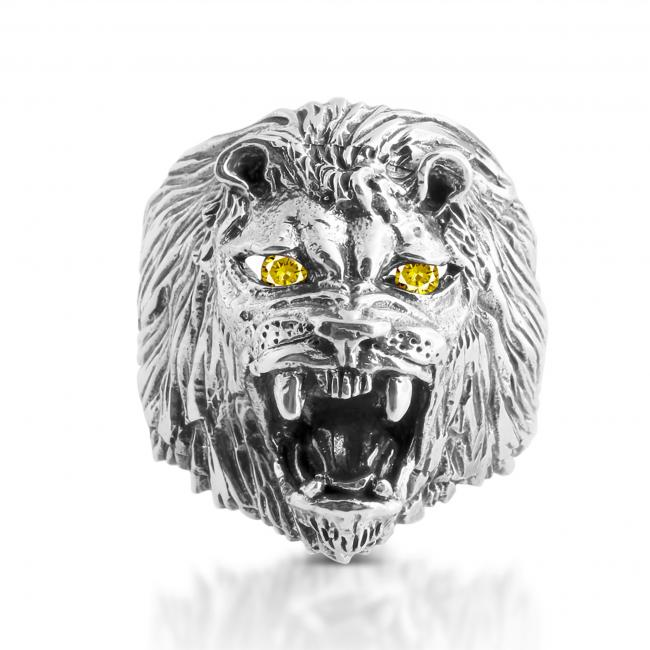 925 sterling silver ring Roaring Lion w/ 2 Yellow CZs