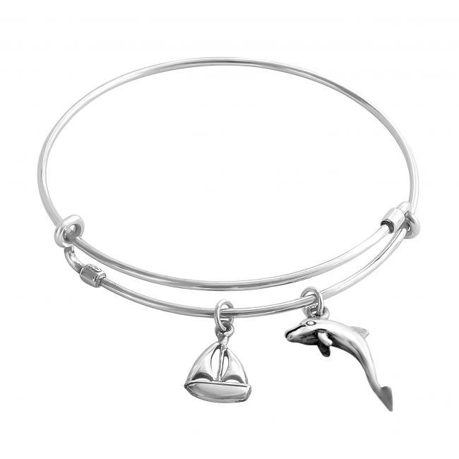 925 sterling silver bracelet Sailing Romance Adjustable Wire Bangle