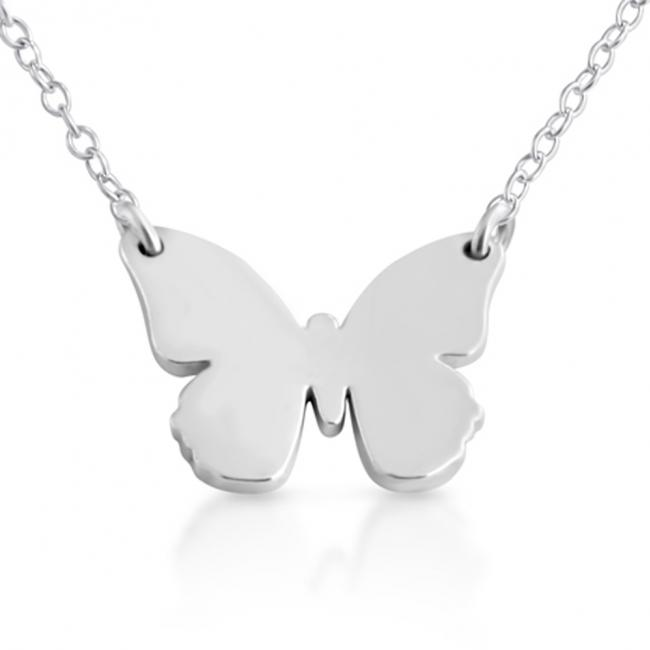 925 sterling silver necklace Small Butterfly Silhouette Sideways