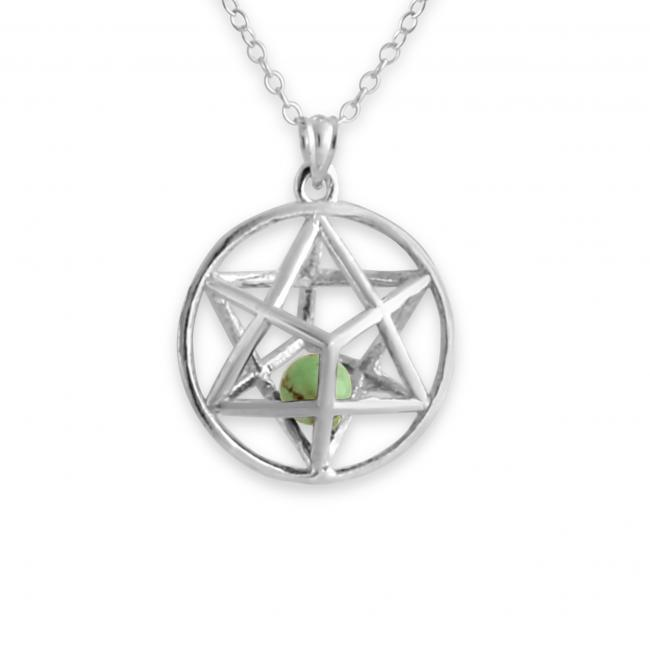 925 sterling silver necklace 3D Star of David w/ Synthetic Jasmine Bead