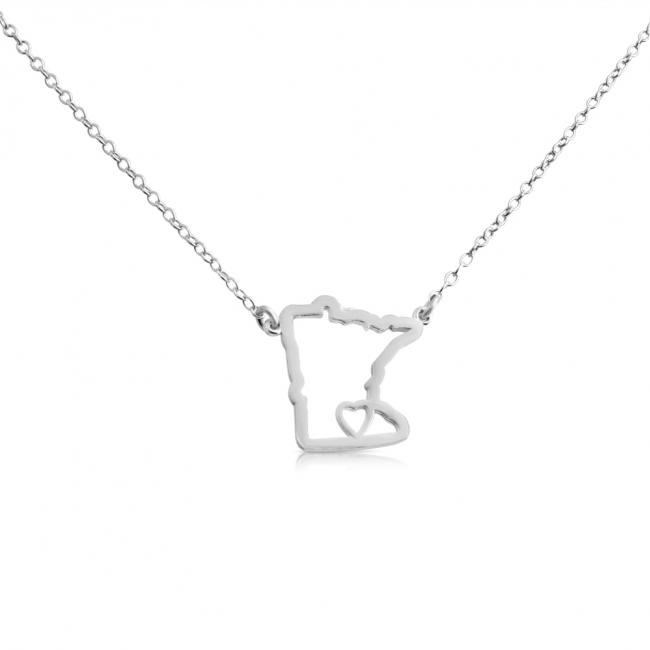 925 sterling silver necklace Minnesota Home is Where The Heart Is State Necklace