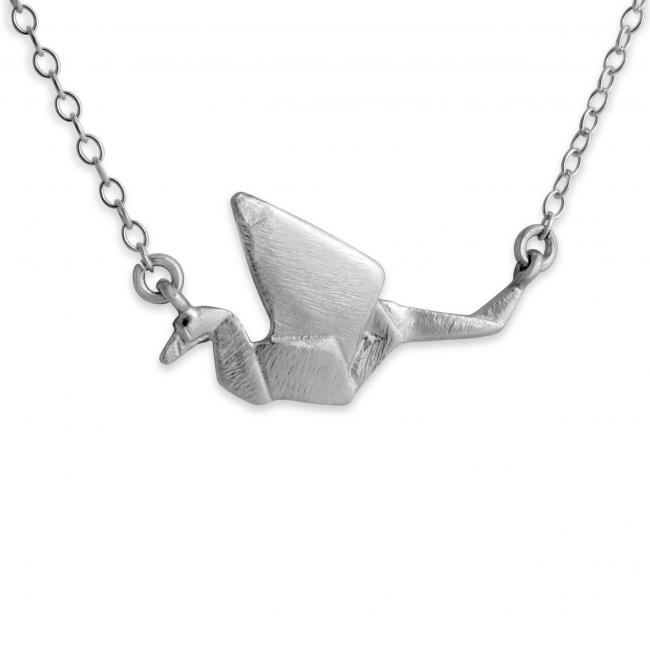 925 sterling silver necklace Origami Paper Crane Jump Ring Necklace