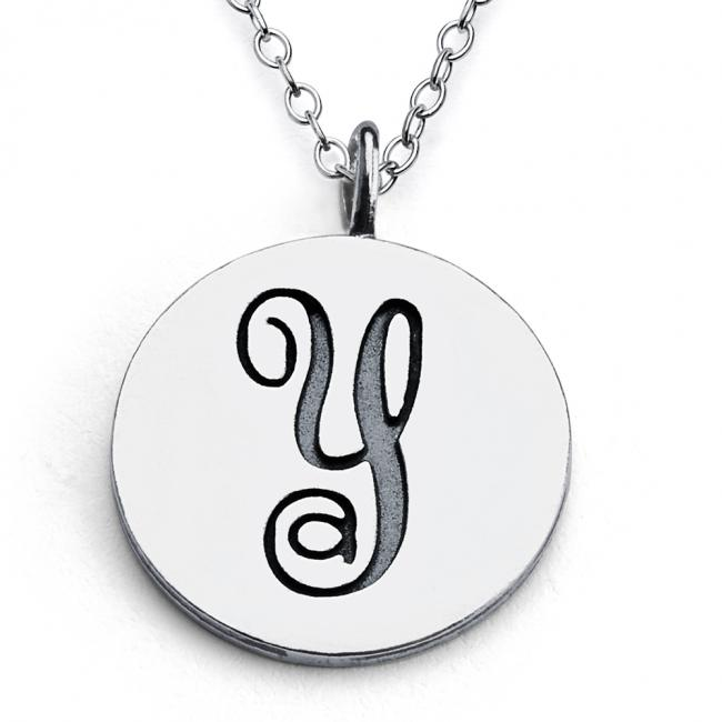 925 sterling silver necklace Y Script Letters