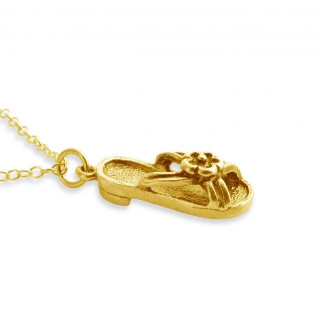 Gold plated necklace 3D Hawaiian Sandal Summer Shoe