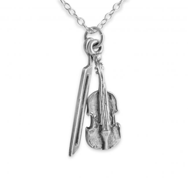 925 sterling silver necklace 3D Violin and Bow String Musical Instrument
