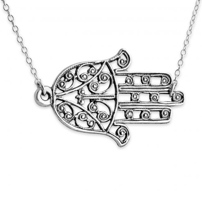 925 sterling silver necklace Filigree Hamsa Hand of Fatima Sideways Amulet