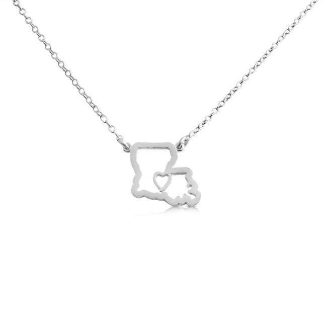 925 sterling silver necklace Louisiana Home is Where The Heart Is State Necklace