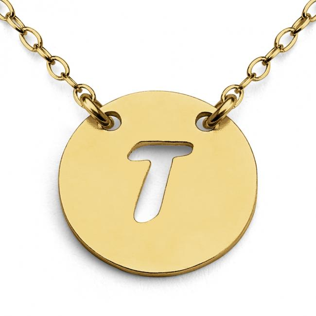 Gold plated necklace T Open Letter