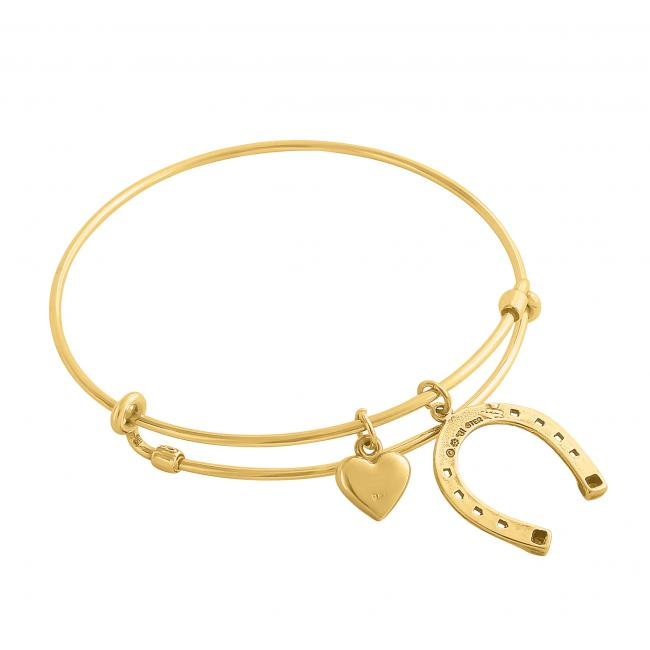 Gold plated bracelet Cowboy Heart Adjustable Wire Bangle