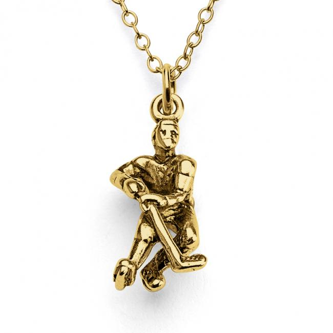 Gold plated necklace 3D Hockey Player Winter Team Sports Fan