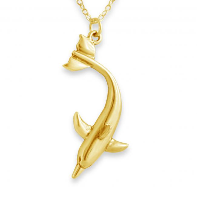 Gold plated necklace Diving Dolphin