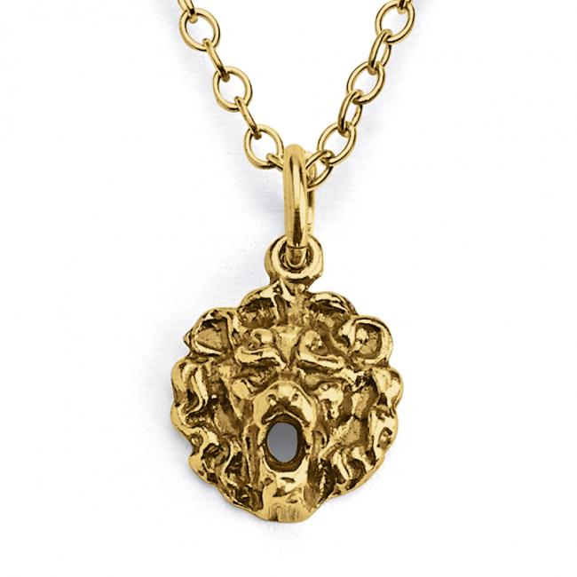 Gold plated necklace Royal Lion's Head Wild Cat Safari Trophy