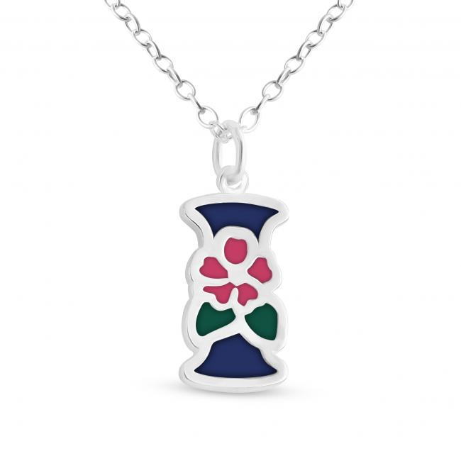 925 sterling silver necklace Colored Initial Letter I with Flower