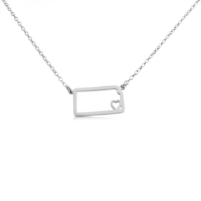 925 sterling silver necklace Kansas Home is Where The Heart Is State Necklace