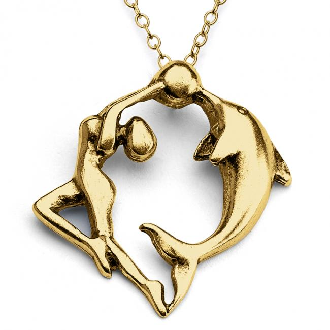 Gold plated necklace Dancing Woman and Dolphin