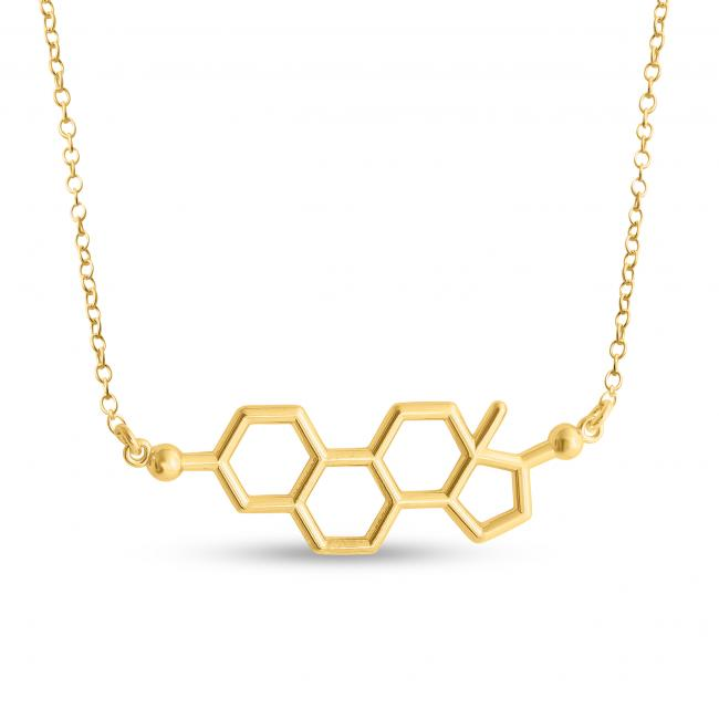 Gold plated necklace Estrogen Molecule Female Sex Hormone Chemical Structure