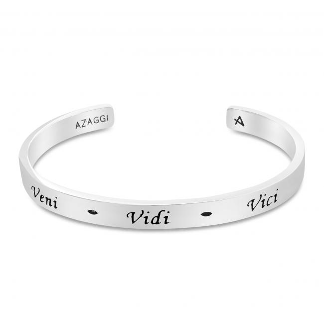 925 sterling silver bracelet Brass/ Rhodium Veni Vidi Vici Inspirational Cuff Bracelet