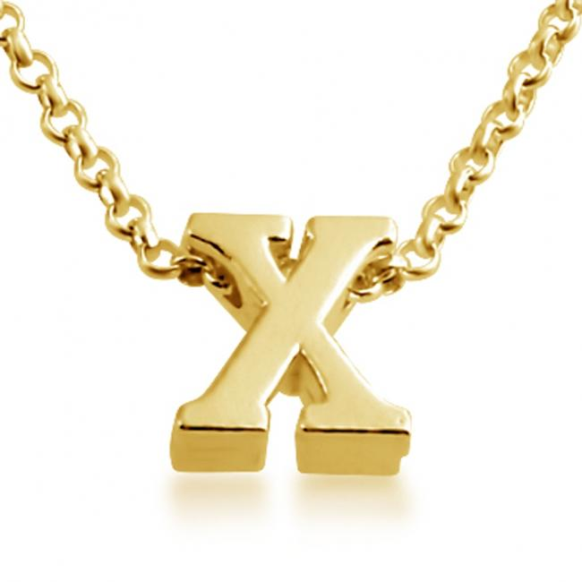 Gold plated necklace Initial Letter X Personalized Symbols & Letters Serif Font