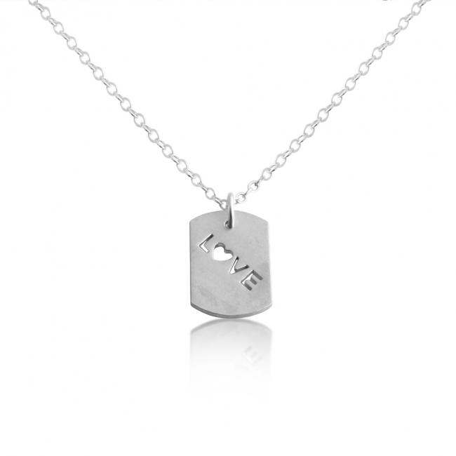 925 sterling silver necklace Love Dog Tag