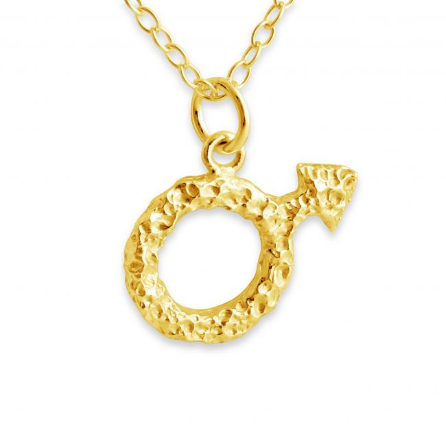 Gold plated necklace Mars Symbol