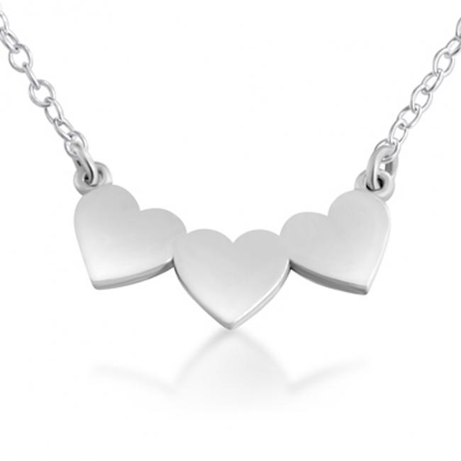 925 sterling silver necklace 3 Solid Hearts