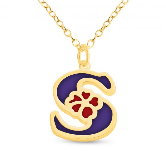 Gold plated necklace Colored Initial Letter S with Flower