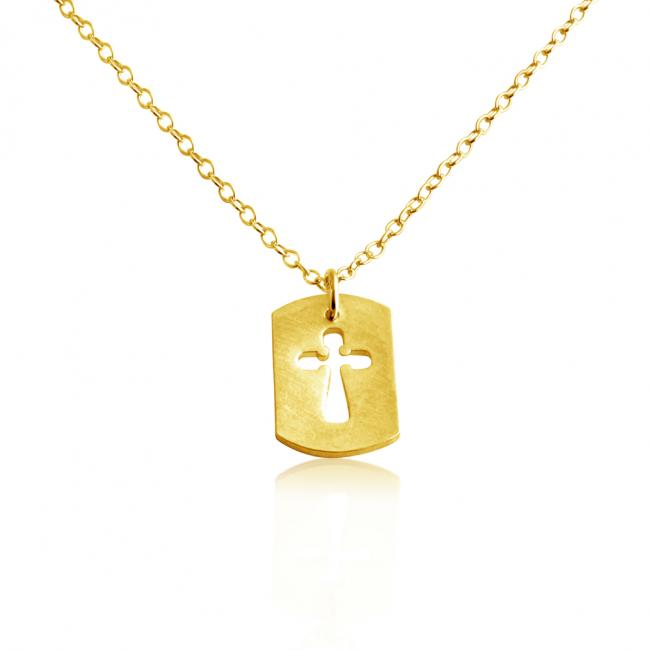 Gold plated necklace Cross Dog Tag Pendant