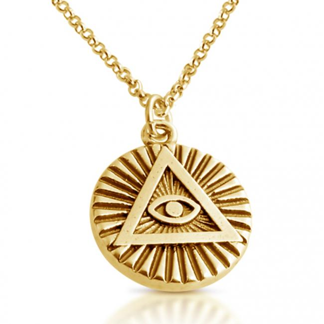 Gold plated necklace Illuminati Circle