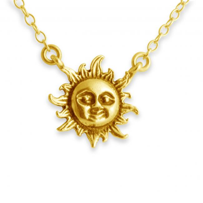 Gold plated necklace Sun Flare Jump Ring Necklace