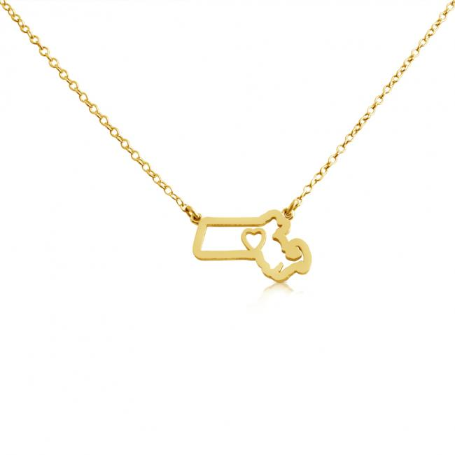 Gold plated necklace Massachusets Home is Where The Heart Is State Necklace