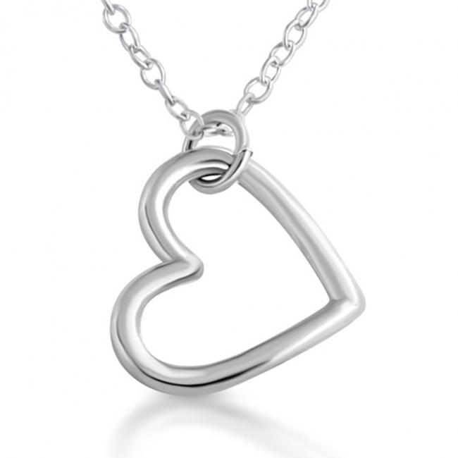 925 sterling silver necklace Open Hanging Heart Sideways