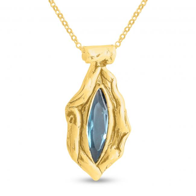 Gold plated necklace Ice-Blue Marquise Shaped Synthetic Aquamarine