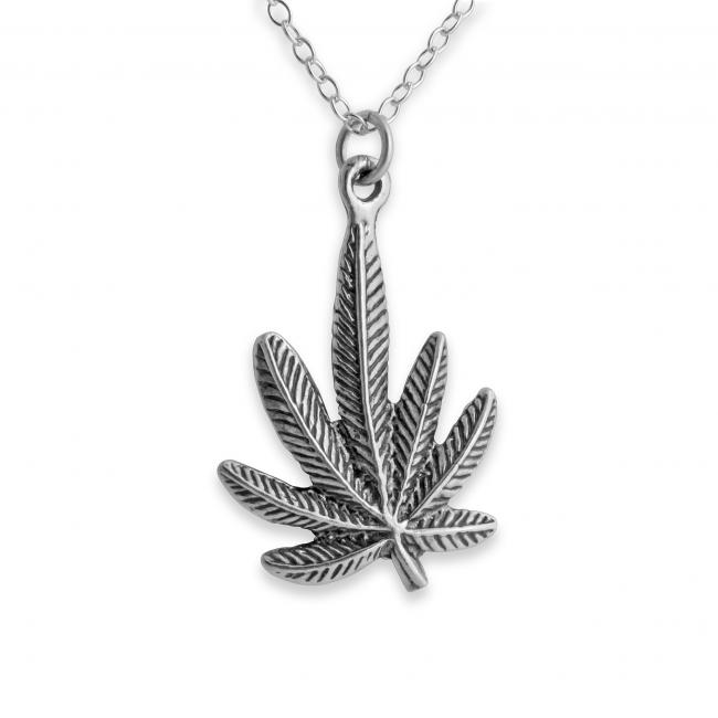 925 sterling silver necklace Marijuana Cannabis Leaf Plant