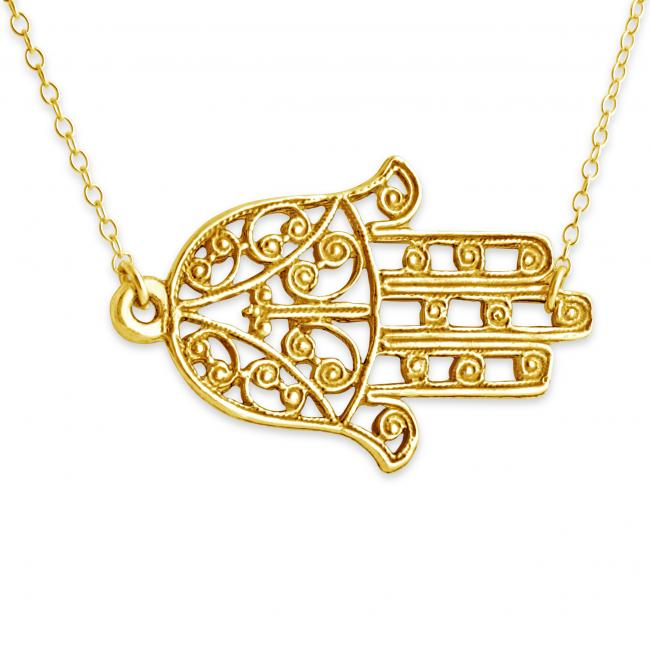 Gold plated necklace Filigree Hamsa Hand of Fatima Amulet