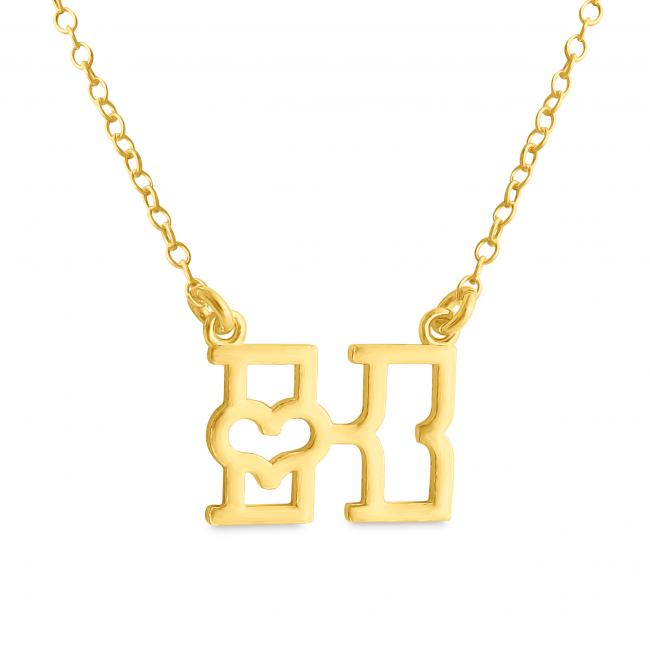 Gold plated necklace Initial Letter K with Heart Sideways