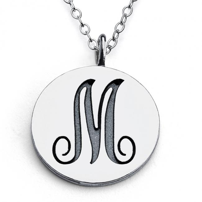 925 sterling silver necklace M Script Letters