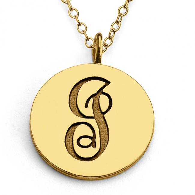 Gold plated necklace I Script Letters