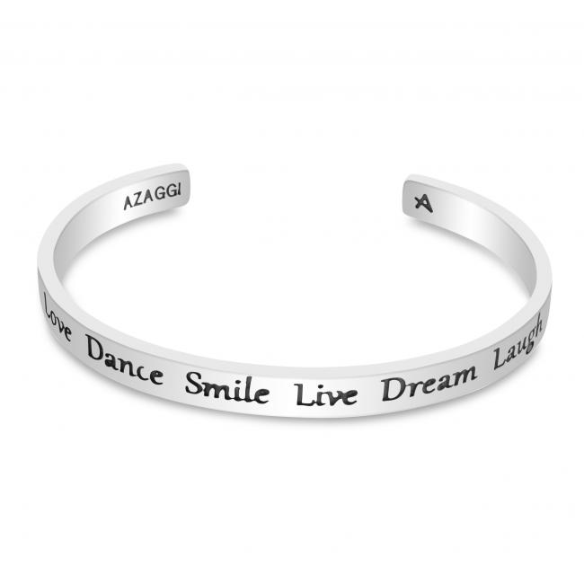 925 sterling silver bracelet Brass/ Rhodium Love Dance Smile Live Dream Laugh Inspirational Cuff Bracelet