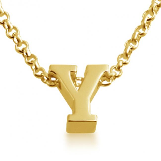 Gold plated necklace Initial Letter Y Personalized Symbols & Letters Serif Font