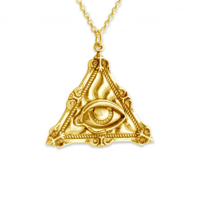 Gold plated necklace Illuminati Eye