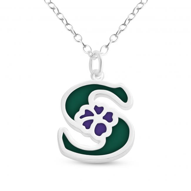 925 sterling silver necklace Colored Initial Letter S with Flower