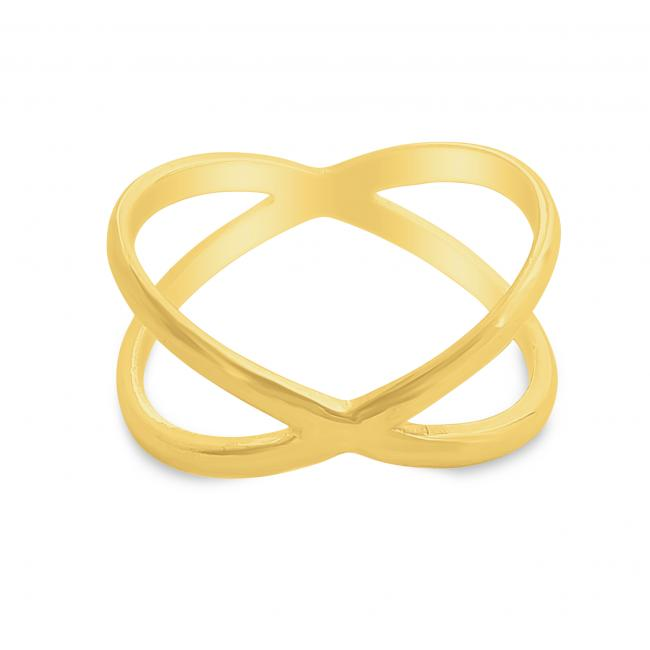 Gold plated ring Plain Wide X Criss Cross Infinity Ring