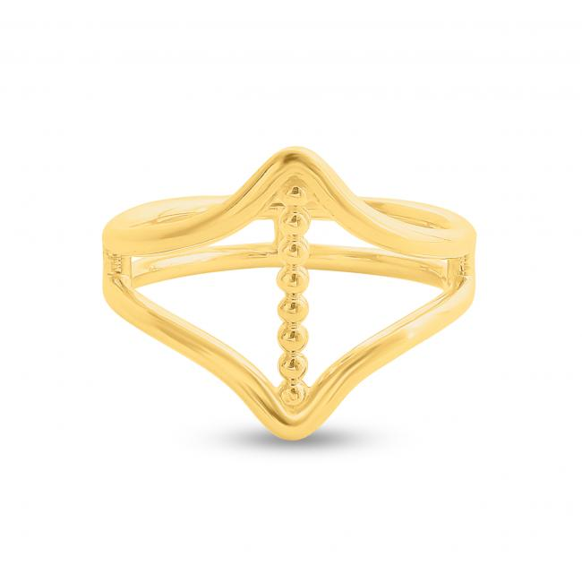 Gold plated ring Vertical Bar between Double V Chevron Plain Double Band Ring