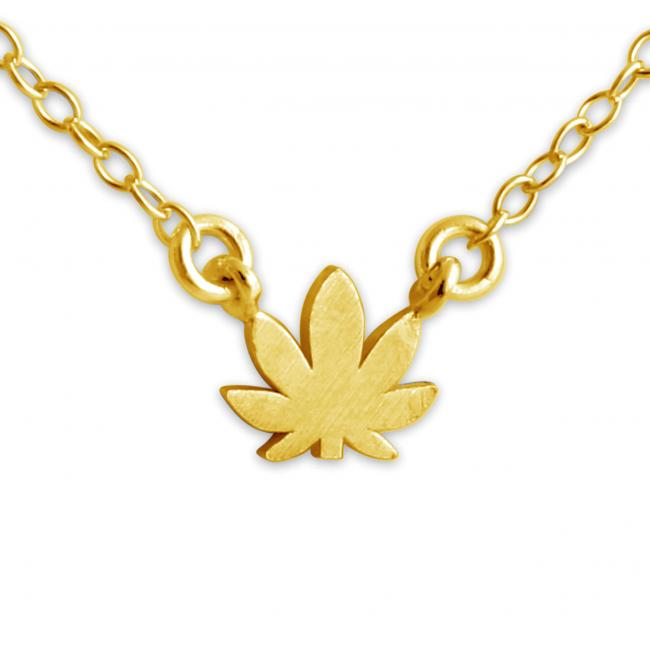 Gold plated necklace Cannabis Jump Ring Necklace