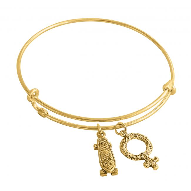 Gold plated bracelet Venus Skateboard Adjustable Wire Bangle